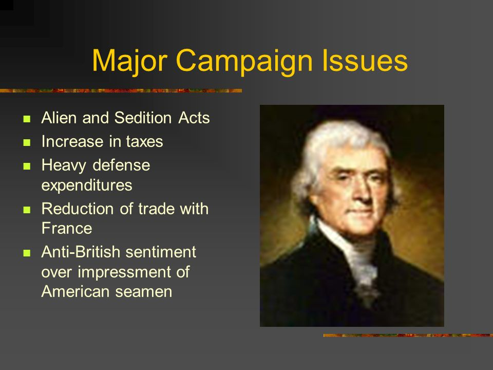 Major Campaign Issues Alien and Sedition Acts Increase in taxes