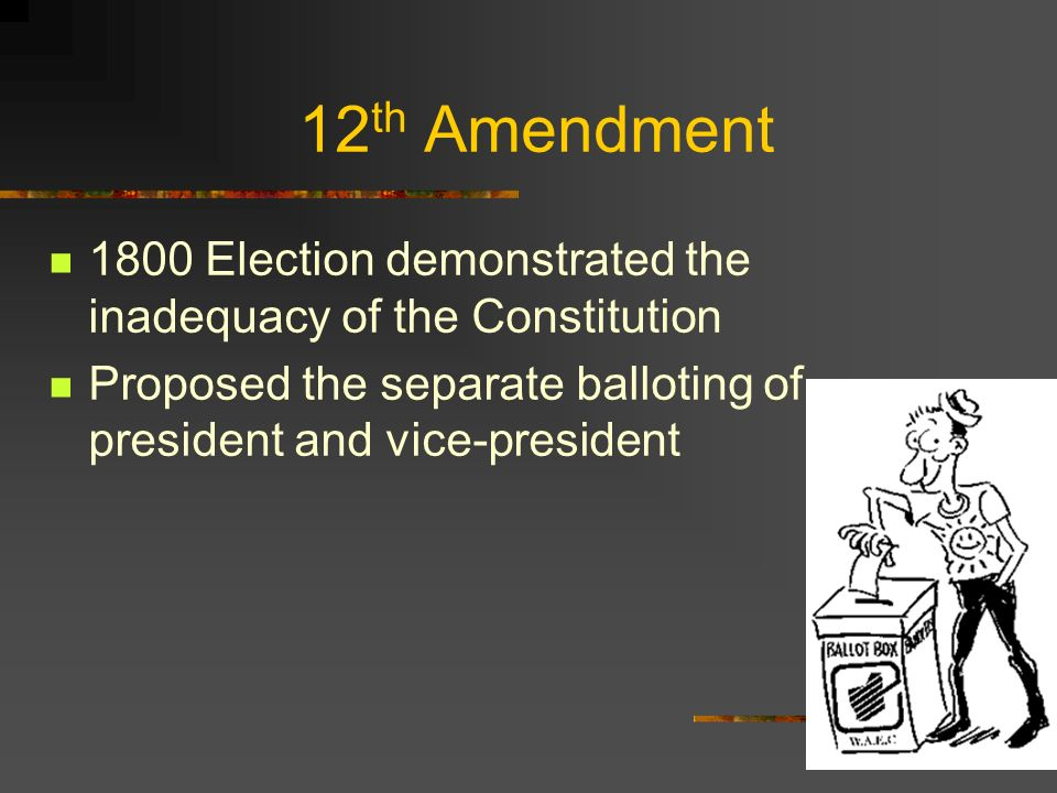 12th Amendment 1800 Election demonstrated the inadequacy of the Constitution.