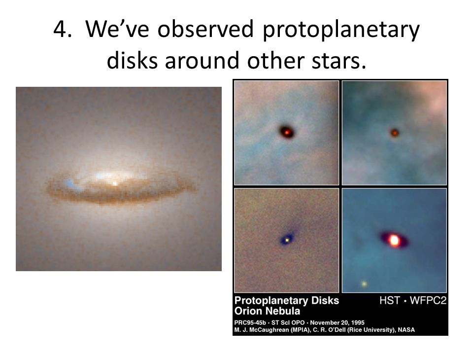 4. We've observed protoplanetary disks around other stars.