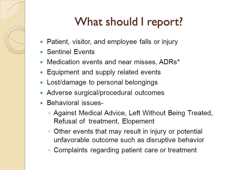 What should I report Patient, visitor, and employee falls or injury
