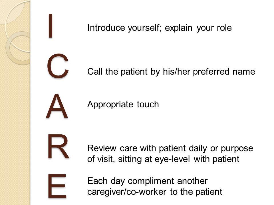 I C A R E Introduce yourself; explain your role