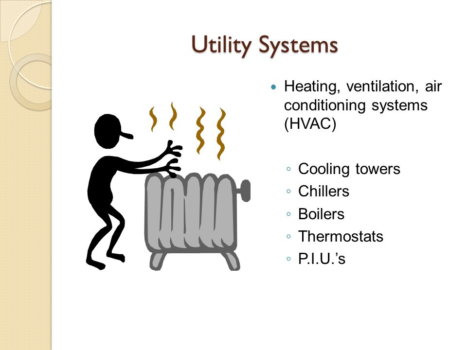 Utility Systems Heating, ventilation, air conditioning systems (HVAC)