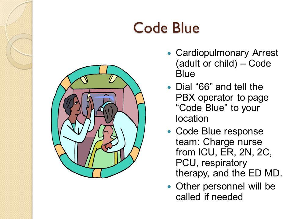 Code Blue Cardiopulmonary Arrest (adult or child) – Code Blue