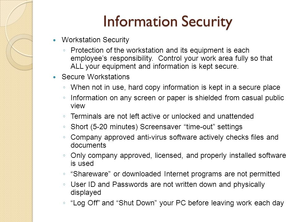 Information Security Workstation Security