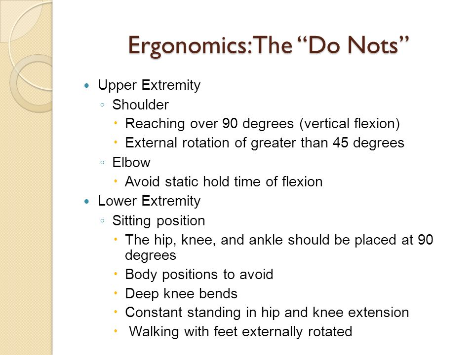 Ergonomics: The Do Nots