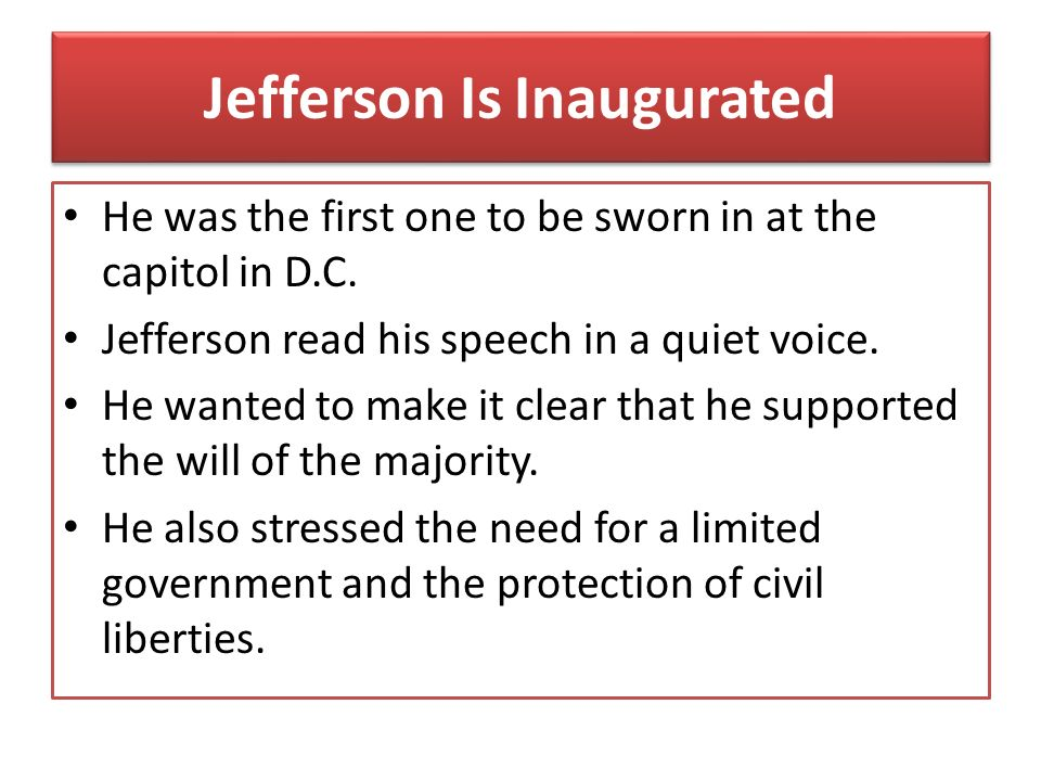 Jefferson Is Inaugurated