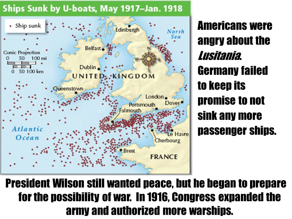Americans were angry about the Lusitania