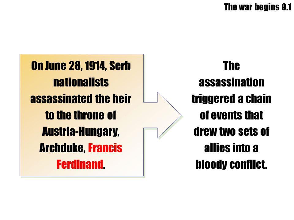 The war begins 9.1 On June 28, 1914, Serb nationalists assassinated the heir to the throne of Austria-Hungary, Archduke, Francis Ferdinand.