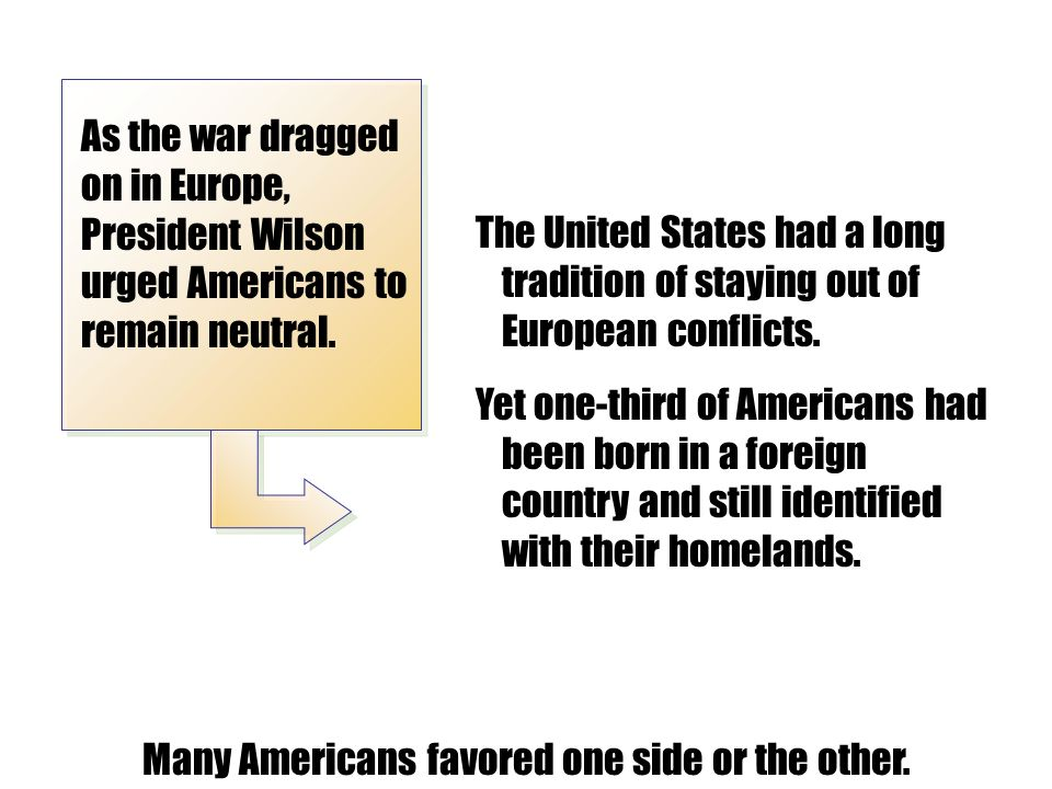 Many Americans favored one side or the other.