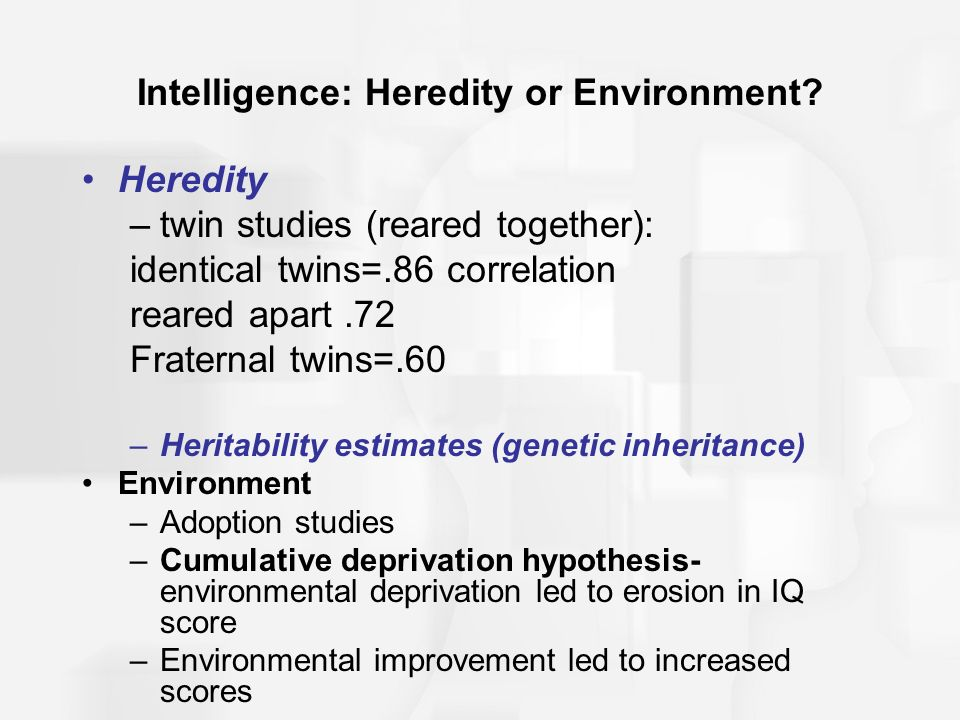 which has greater effect on a person heredity or environment It has been reported that the use of the terms nature and nurture as a convenient catch-phrase for the roles of heredity and environment in human development can be traced back to 13th century france some scientists think that people behave as they do according to genetic predispositions or.