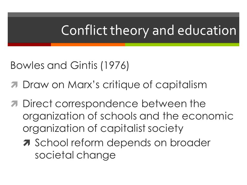 conflict theory in education This book examines critical theories in education research from various points of  view in order to critique the relations of power and knowledge in education and.