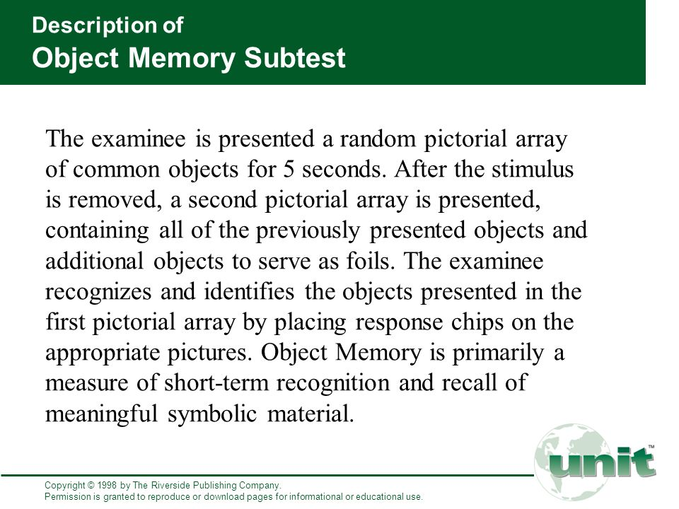 memory recall and recognition for a common object essay Cognitive psychology and cognitive neuroscience/memory  to difficulty or the inability to recall the memory  cognitive psychology and cognitive neuroscience.