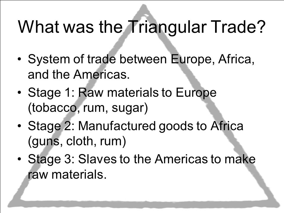 The triangular slave trade system