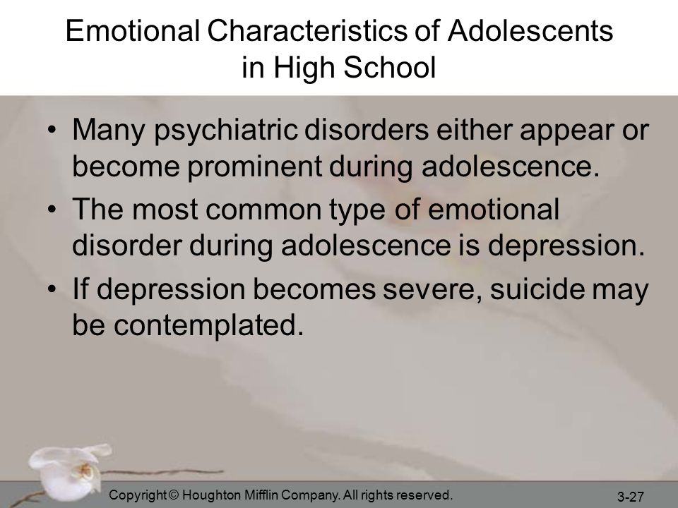 the features of adolescent depression If there is a shared phenomenology of depression through the lifespan, qualitative studies have highlighted some specific features of the lived experience of depressed adolescents.