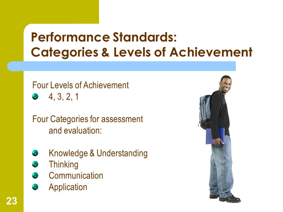 Performance Standards: Categories & Levels of Achievement
