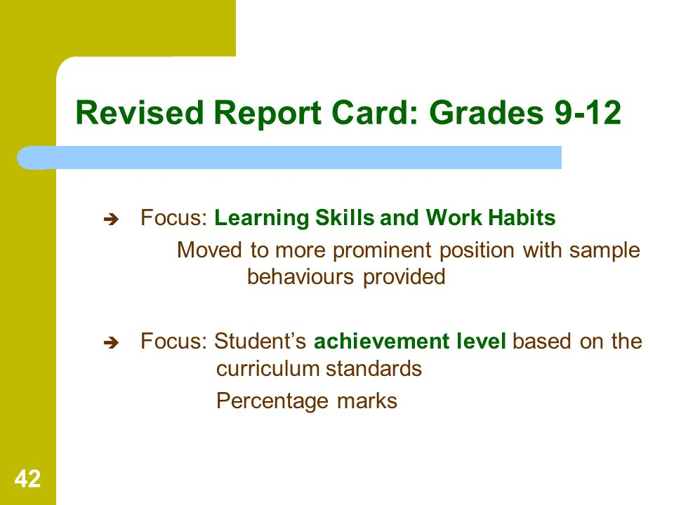 Revised Report Card: Grades 9-12