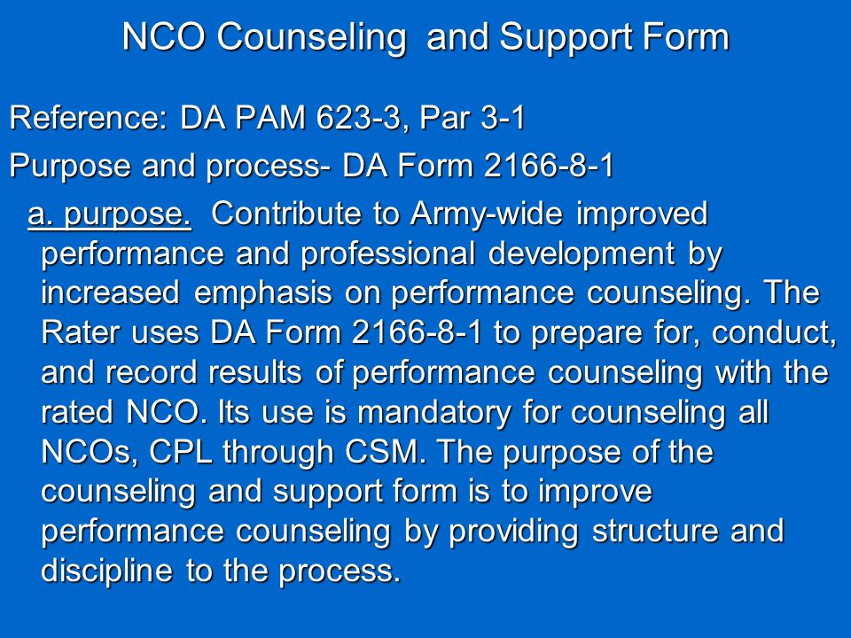 Nco Counseling And Support Form Da Form March   Ppt Video
