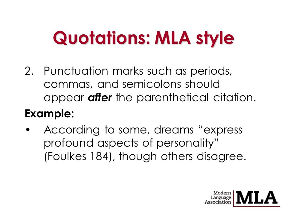 parenthetical citation format Mla style: handling quotations in your text question marks and exclamation points should appear within the quotation marks if they are a part of the quoted passage but after the parenthetical citation if they are a part of your text.