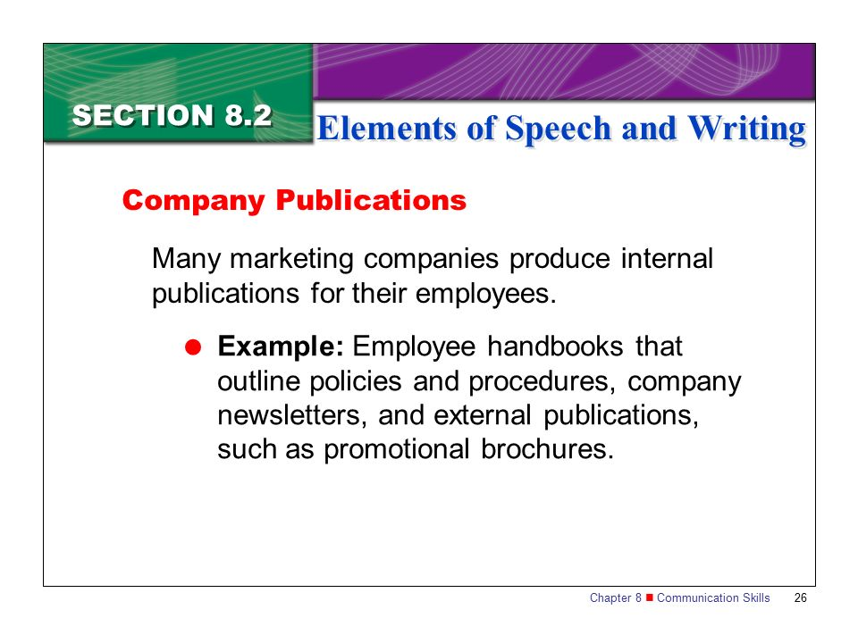 Section 8.2 Elements of Speech and Writing - ppt video online download
