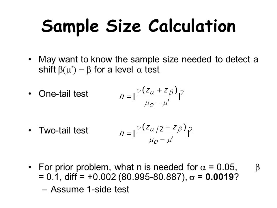 Calculating sample size
