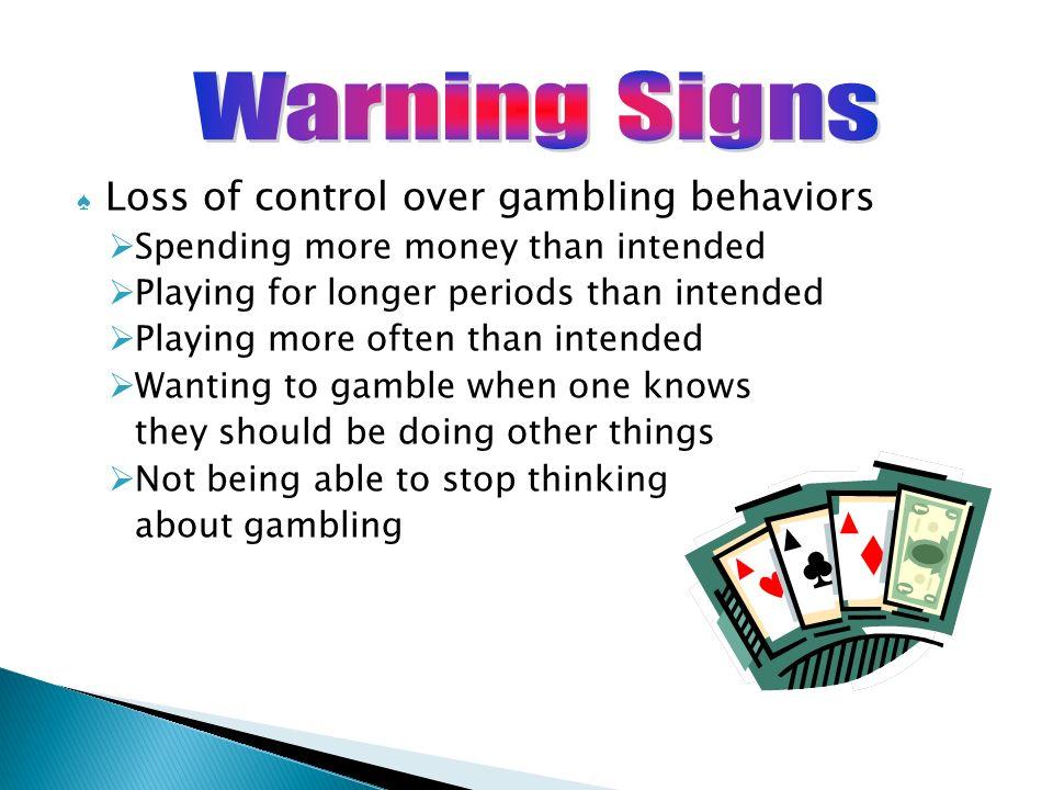 Warning signs of gambling problem