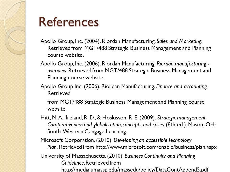 Strategic business plan outline riordan manufacturing images