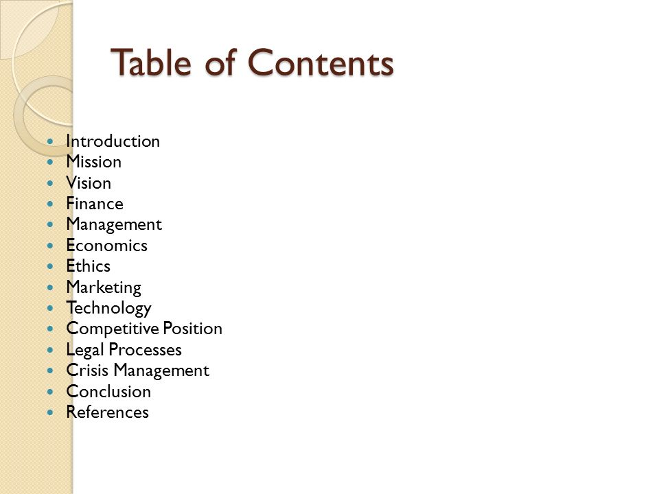 Strategic business plan riordan manufacturing ppt download - Marketing plan table of contents ...
