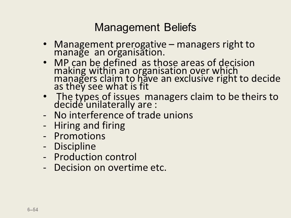 managerial prerogative If the dominant concern is the government's managerial prerogative to determine policy, a subject may not be included in collective negotiations even though it may intimately affect employees' working conditions applying this three-part test, the court held that: (1) the proposed provisions in the public collective bargaining.