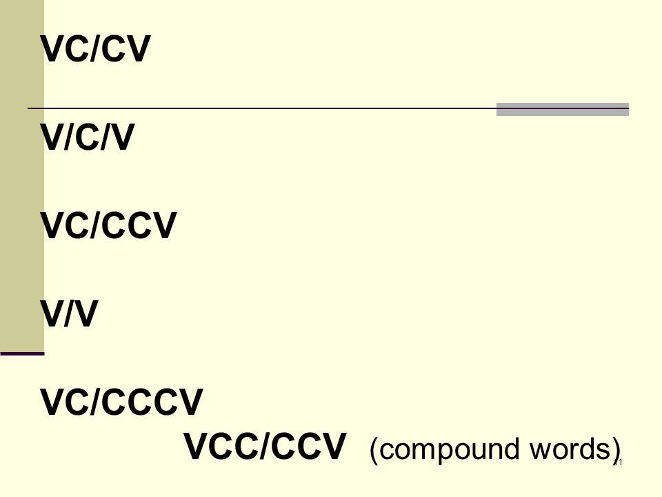 11 VC/CV ...  Cv Words