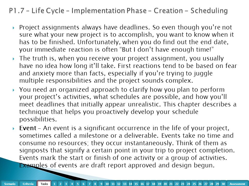 p1 life cycle project P1 describe the stages of the project life cycle for a selected project p3 prepare a project plan to include objectives, milestones and individual contributions p4 set up at least two different methods for monitoring project progress m1 assess the importance of project management throughout a project's life cycle m2 compare and contrast.