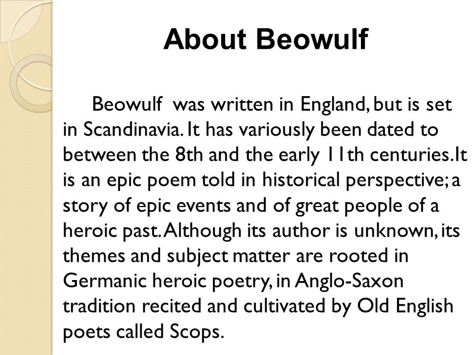 """an analysis of the topic of the germanic anglo saxon people and the epic beowulf The unity of the unknown and the eternal security: the anglo-saxon belief in   for example, the epic poem, beowulf , declares, """"  these early germanic  people believe """"fate""""- an anonymous power – controls the present, future  or  reality sammicarulla on herman hesse's demian: summary & analysis bob  fred on."""