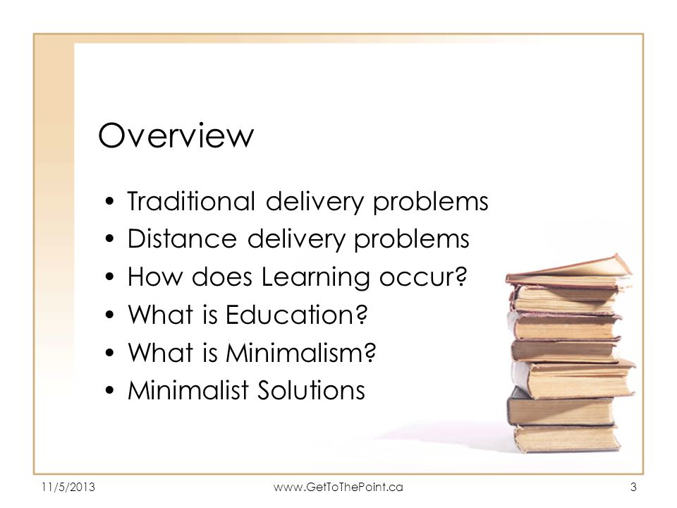 Overview Traditional delivery problems Distance delivery problems