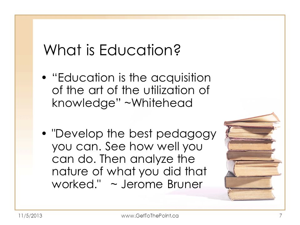 What is Education Education is the acquisition of the art of the utilization of knowledge ~Whitehead.