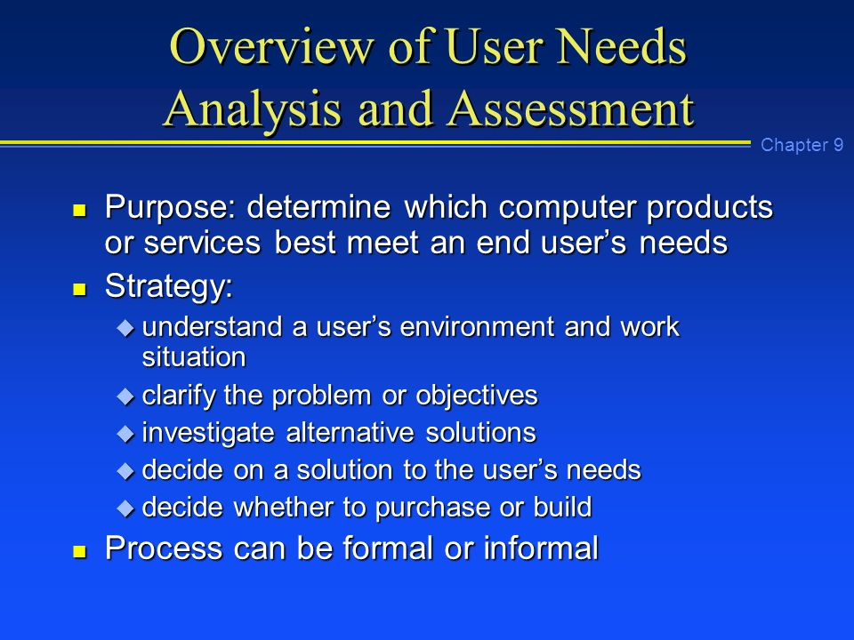 Chapter 9: User Needs Analysis And Assessment - Ppt Video Online