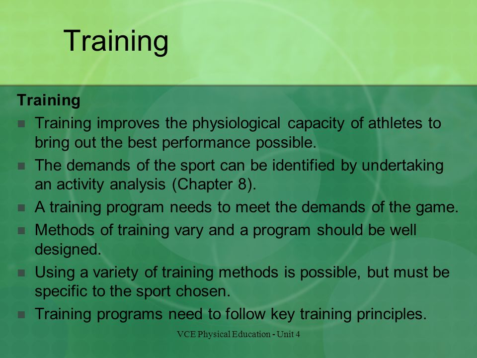 pe coursework training programme