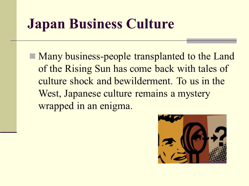 culture shock in japan from the us Culture shock culture shock is a condition of emotional upset and tension that becomes chronic for a period of varying duration it is experienced by people who, exposed to life in a new and unfamiliar setting, react.