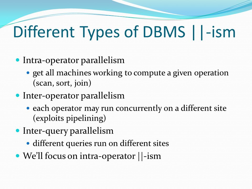 Different types of dbms and dbms