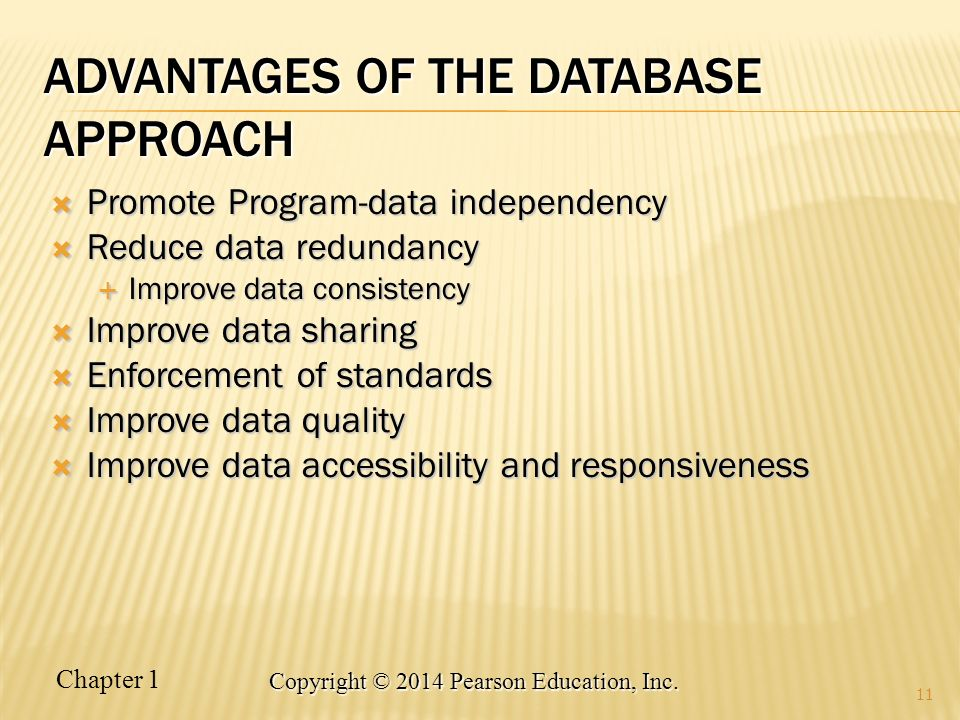 Advantages of THE DatabaSE APPROACH