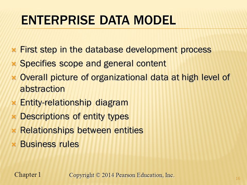 Enterprise Data Model First step in the database development process