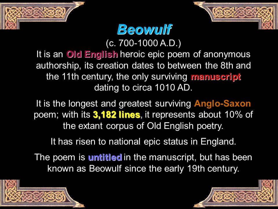 analysis of beowulf an old english epic poem Beowulf epic epic of beowulf beowulf and epic hero analysis new topic essay on beowulf epic beowulf came into existence old english poem beowulf.