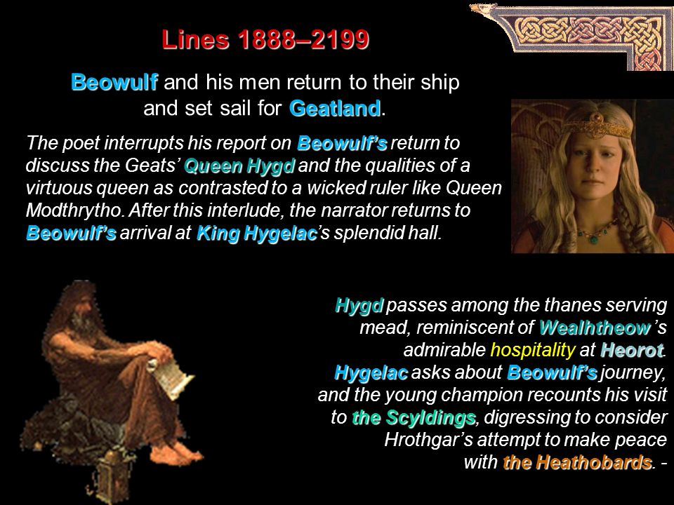 a comparison of queen wealhtheow and queen hygd in beowulf and grendel Beowulf's rebuke queen wealhtheow's welcome  beowulf pinned the giant sword the grendel-feud recounted  hygd-modthrytho comparison.