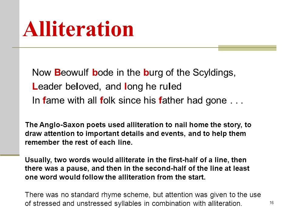 examples of alliteration in beowulf Alliteration definition and examples alliteration definition and examples - title ebooks :  summary king tut book james patterson supernatural forces in beowulf more.