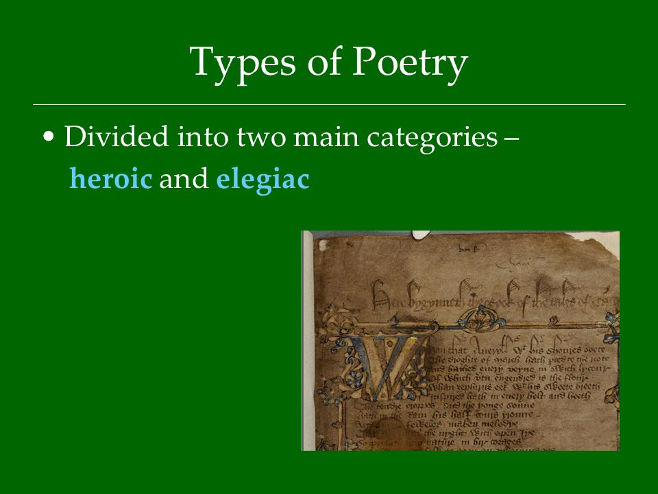 beowulf a heroic elegiac poem We have been told in ancient tales many marvels of famous heroes, of mighty   he was convinced that the beowulf poet received the idea of writing an epic from  his  [33] just to mention a few, they include a praise poem, elegies, boasts,.