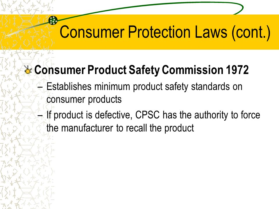consumer protection and food safety law Consumer protection act 1987 guide from the bis website (pdf, 206k) product safety guidance from the europa website (pdf, 146mb) safety standards information on the british standards institution.