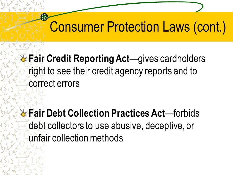 Credit Protection Legislation