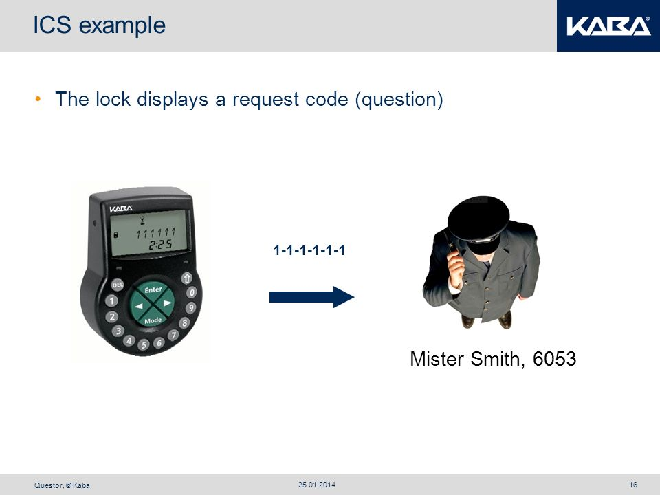 ICS example The lock displays a request code (question)