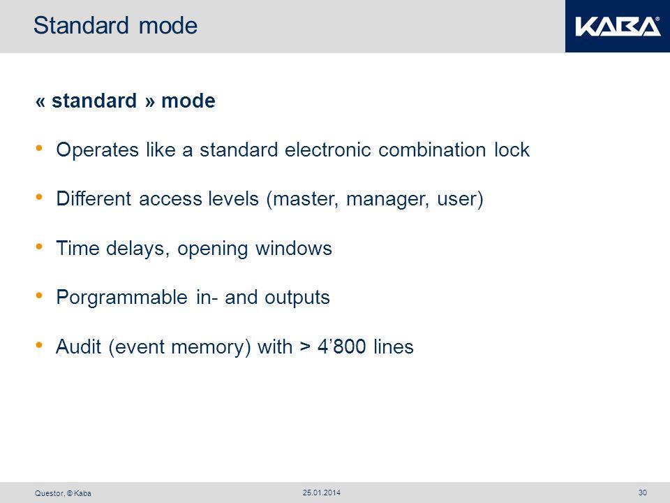 Standard mode « standard » mode