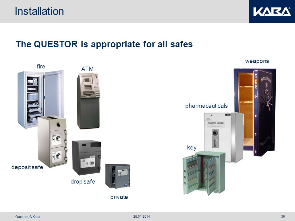 Installation The QUESTOR is appropriate for all safes weapons fire ATM