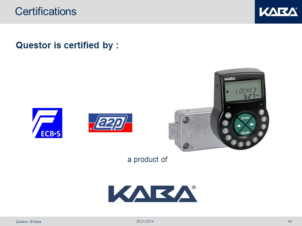 Certifications Questor is certified by : a product of 27.03.2017