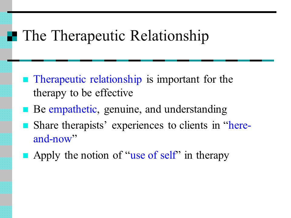 client-therapist relationship in gestalt psychotherapy essay Client centered therapy is based on carl rogers premise that the therapist can trust the client's ability to move forward in a constructive manner if the appropriate conditions fostering growth are present is an offshoot of the humanistic theory (corey, p172) .